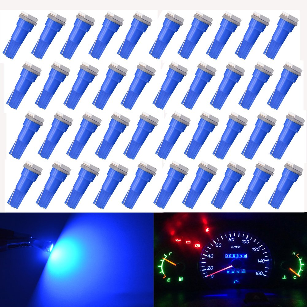KaTur T5 70 73 74 79 85 86 206 406 LED Bulbs 5050 1SMD Blue 1W 12V Car Interior Instrument Cluster Gauge LED Lights Dashboard Signal LED Bulbs Pack of 40