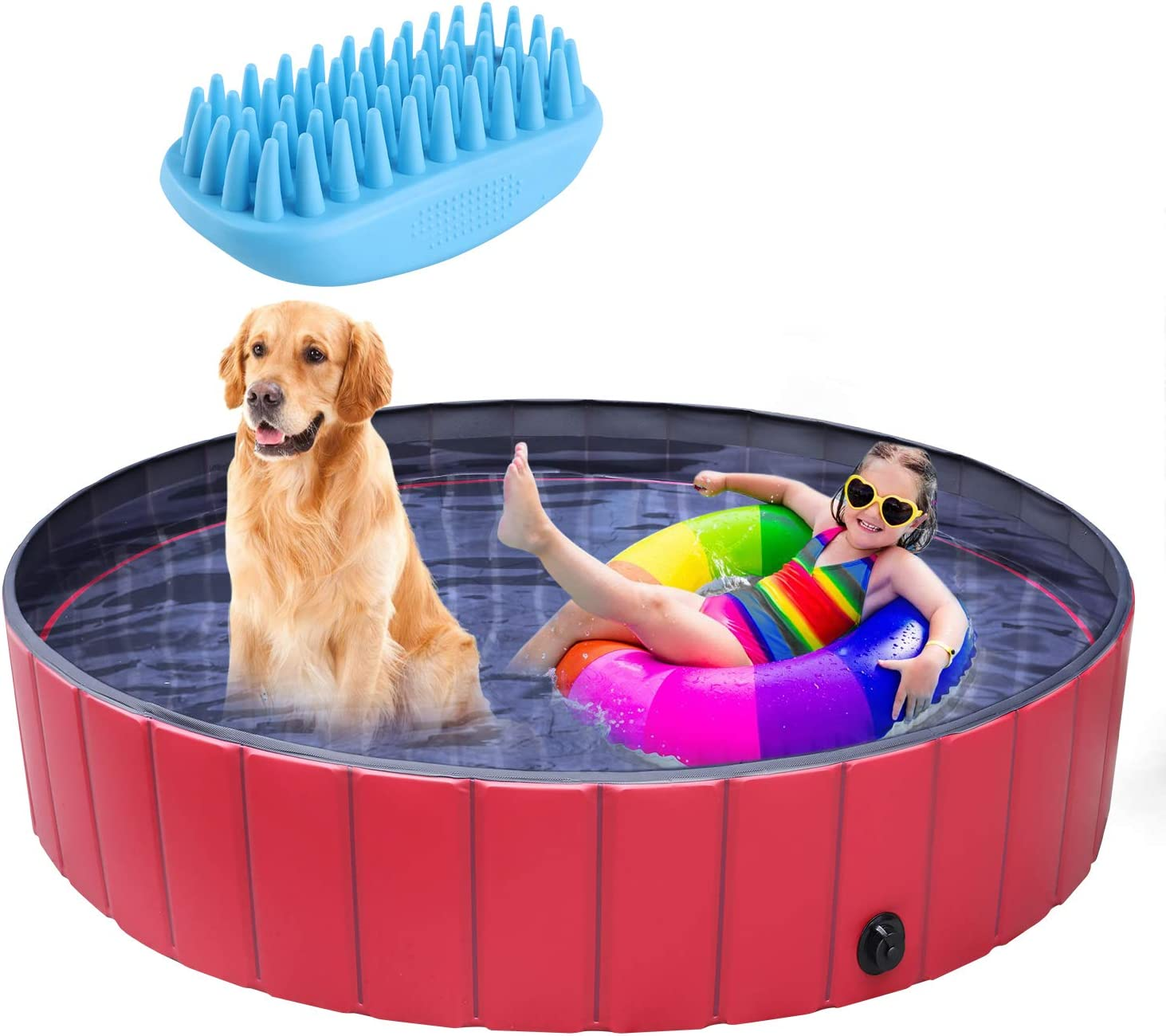 Pedy Dog Swimming Pool Collapsible Pet Bath Pool Foldable Bathing Tub Kiddie Pool For Dogs Cats And Kids 63 X 11 8 In Amazon Ca Pet Supplies
