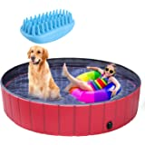 pedy Dog Swimming Pool with Brush, Collapsible Pet Bath Pool Foldable Bathing Tub Kiddie Pool for Dogs Cats and Kids