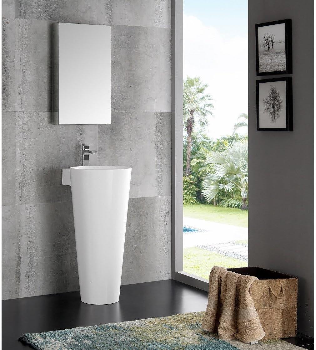 Fresca Messina 16 White Pedestal Sink w Medicine Cabinet – Modern Bathroom Vanity