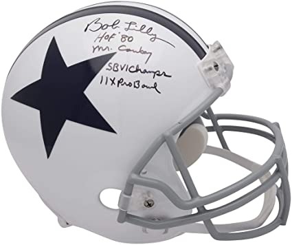1649c6ee2a1 Bob Lilly Dallas Cowboys Autographed Riddell Throwback Replica Helmet with  Multiple Inscriptions - Limited Edition #