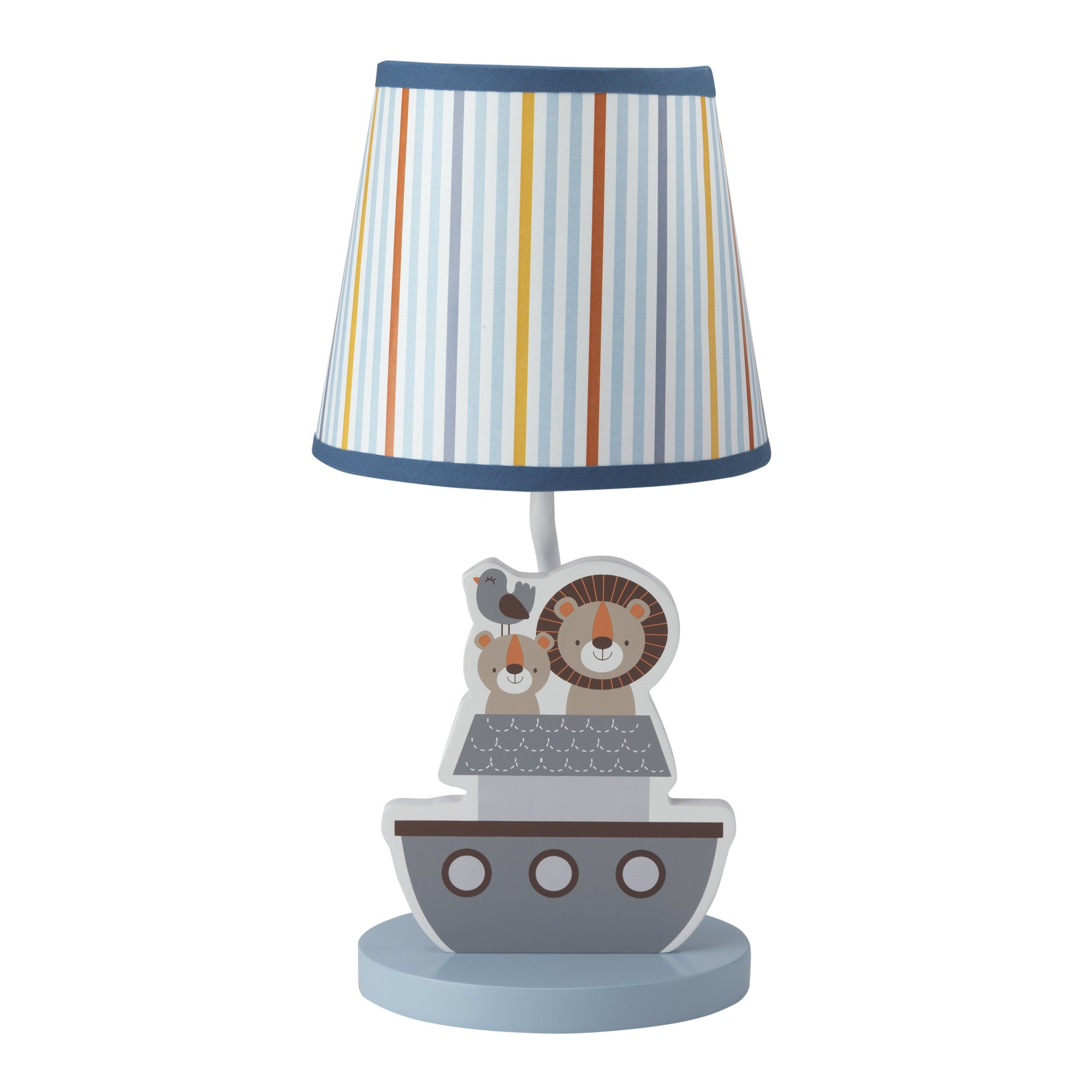 Bedtime Originals Two By Two Noah's Ark Lamp with Shade & Bulb, Blue/Gray