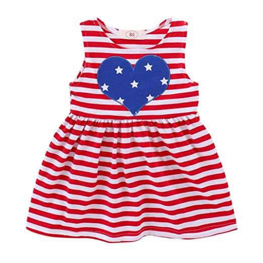 acd2929e13f5 Lavany Baby Little Girls Dresses Love Heart Stripe Print 4th of July  Princess Dress (3