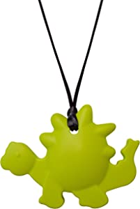 Munchables Dinosaur Chewable Necklace - Sensory Chew Jewelry for Kids (Green)