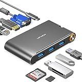 USB Type C ハブ 7in1 USB Type C 変換 4K/HDMI出力 1080P/VGA出力 100W/PD給電 USB3.0 ハブ 1000M/LAN対応
