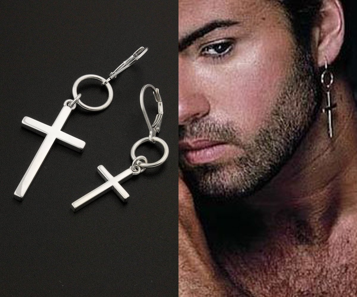 5cd27cc016896 ONE PIECE George Michael Earring Cross Earring sterling silver George  Michael Hang Hoop earring, One piece Unisex earring memorial jewelry