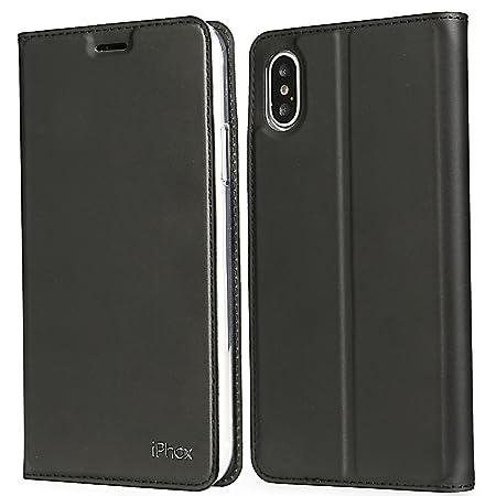 IPHOX Funda iPhone X/XS, Cuero Fundas [Ranuras para Tarjetas][Cierre Magnético] [Ultra-Delgado] TPU Parachoques Protección De Cuerpo Completo Carcasa para ...