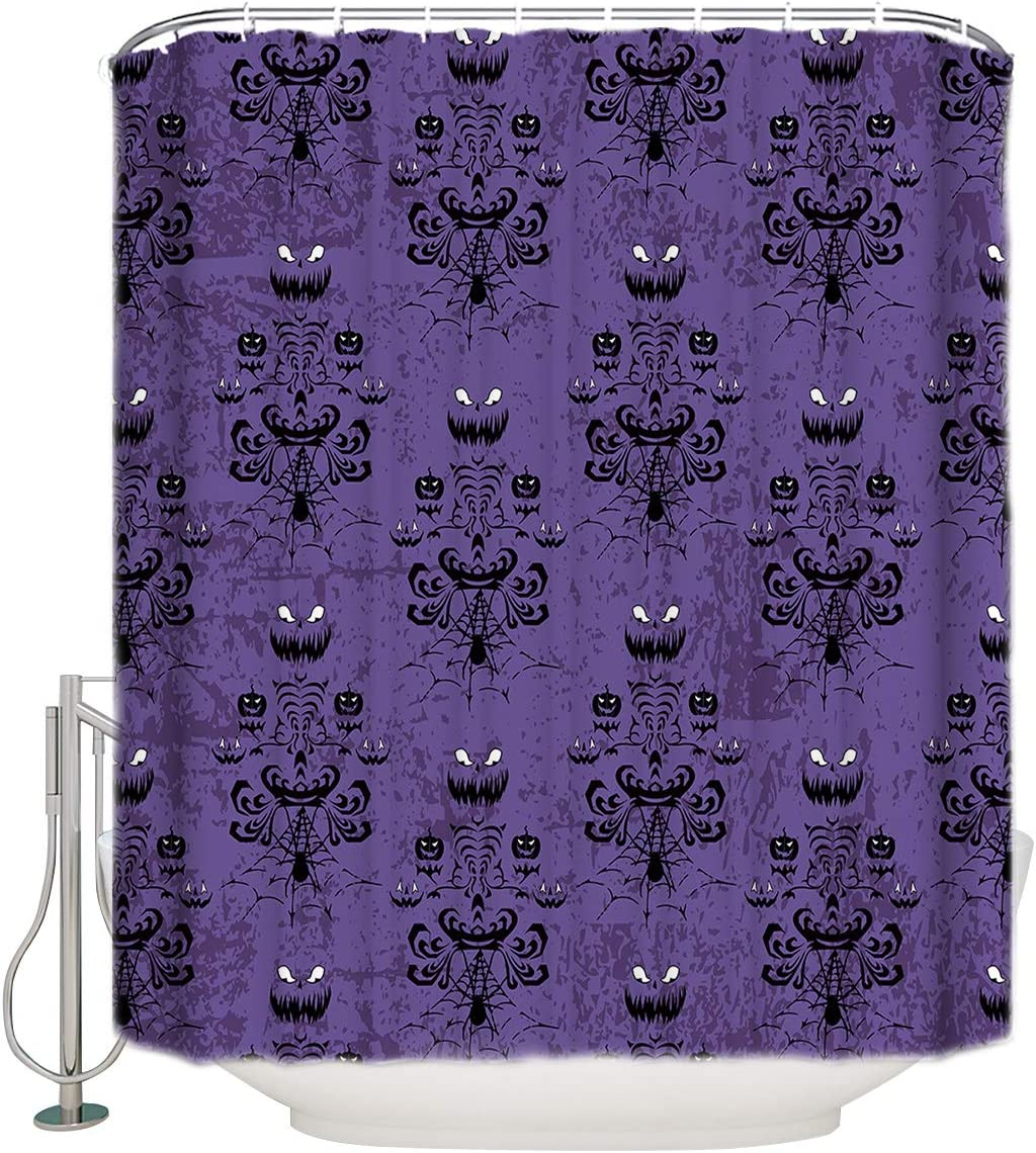 CyCoShower Halloween Design Waterproof Shower Curtain,Halloween Grimace Haunted Mansion Pattern Durable Bathroom Bathtub Curtains Set with Hooks 36 X 72 Inch