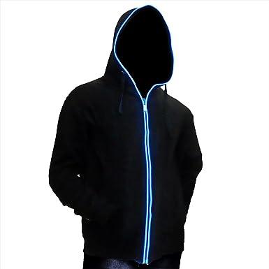 Ucult LED-Hoodie Blau Zip-Hoodie EL-Kapuzenjacke Schwarz: Amazon.de ...