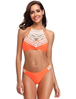 ef68af0e6aa LALAVAVA Women s Vintage Bikini Set Boho Lace up Splice Strappy Two Piece  Bathing Suit