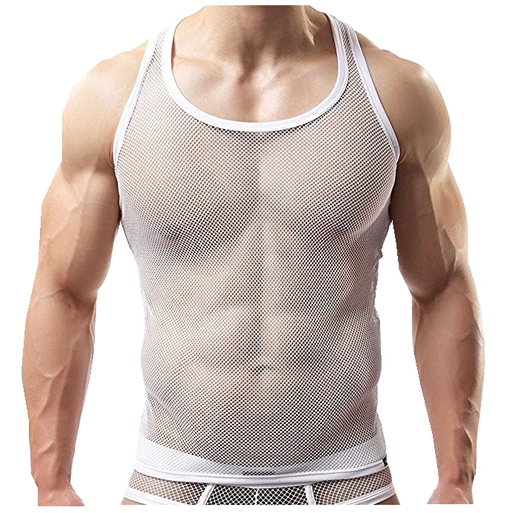 Iffee Men's Mesh See-Through Tank Top Vest