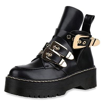 e3a86944f87b3 SCARPE VITA Damen Stiefeletten Plateau Boots mit Blockabsatz Schnallen