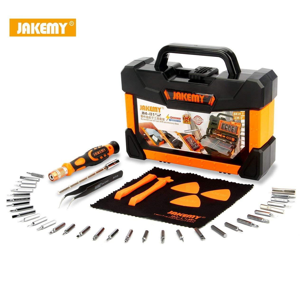Jasnyfall Kit d'outils de ré paration de tournevis multifonctions JM-8152 44 in1 avec boî te portable noire et orange