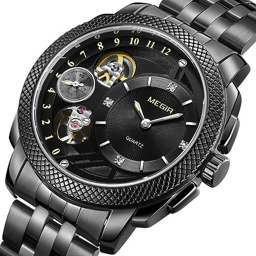 Hombre Relojes Hombres Resistente al Agua Negro Acero Inoxidable Reloj de Pulsera Lujo analógico Reloj de Hombre: Amazon.es: Relojes