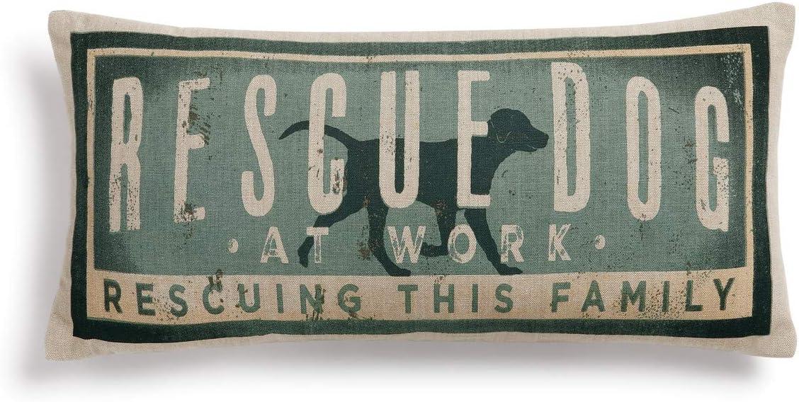 Rescue Dog Vintage Blue 17 x 7 Cotton Polyester Fiberfill Throw Pillow