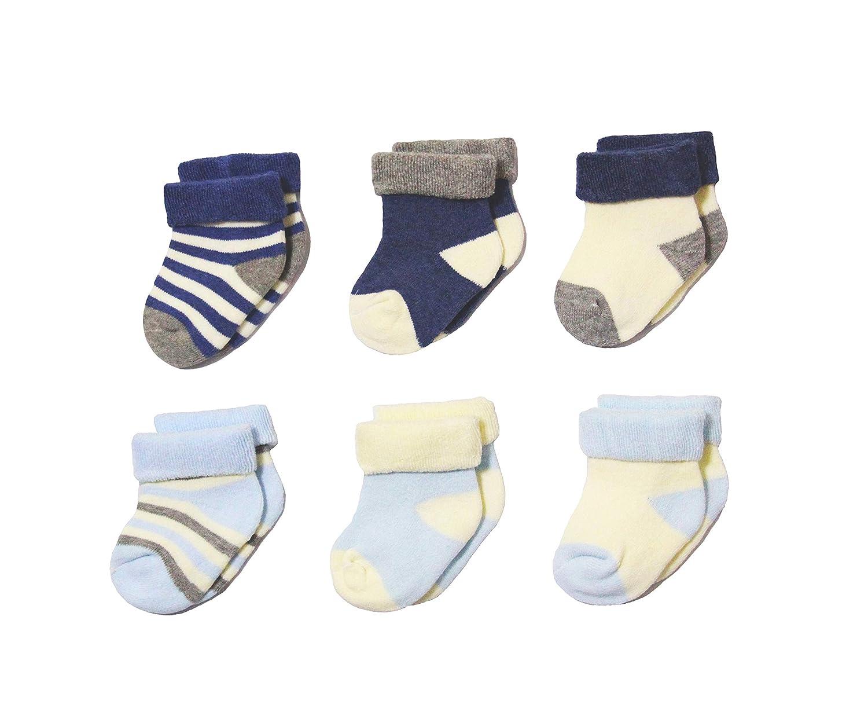 SAGESSE Set di 6 paia di calzini in cotone morbido per bambini, calze spesse e morbide, molto piacevoli e al caldo regalo di natale nuovo anno per il bambino(misura da 0 a 3 anni)