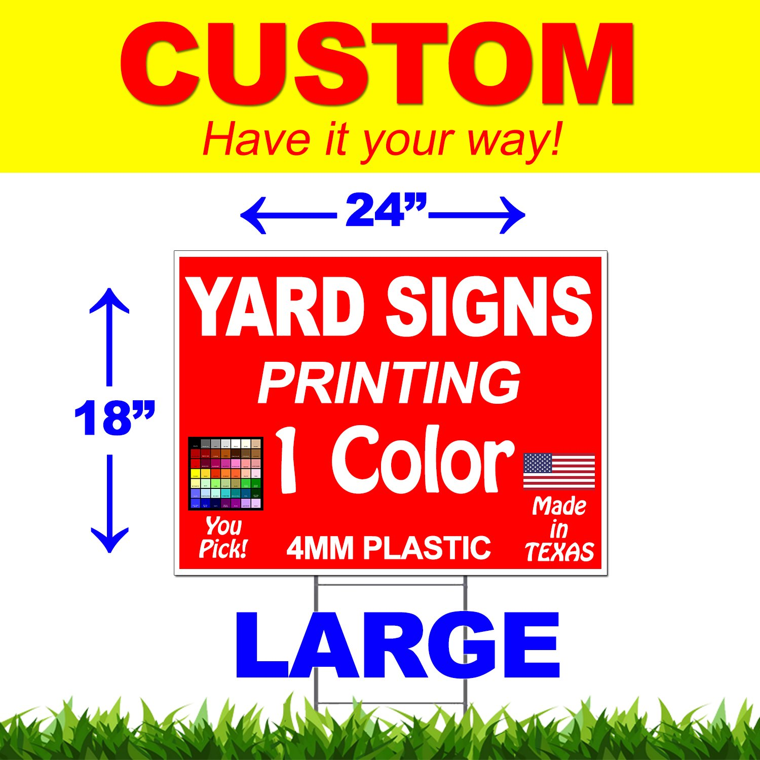Vibe Ink 100 Bundle (Quantity) - 18''x24'' Custom Yard Signs - Plastic Lawn Signs - Print Double Sided - Front & Back (24''x18'')