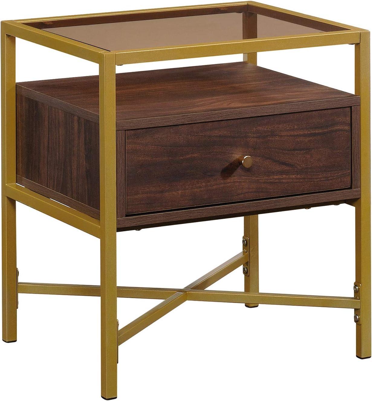 "Sauder Harper Heights Contemporary Wood & Metal Side Table, L: 19.69"" x W: 15.55"" x H: 21.73"", Rich Walnut"