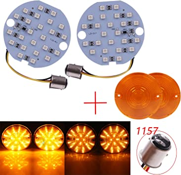 2X Turn Signal Light Flat Lens Fit For Harley Road King Electra Glide Yellow