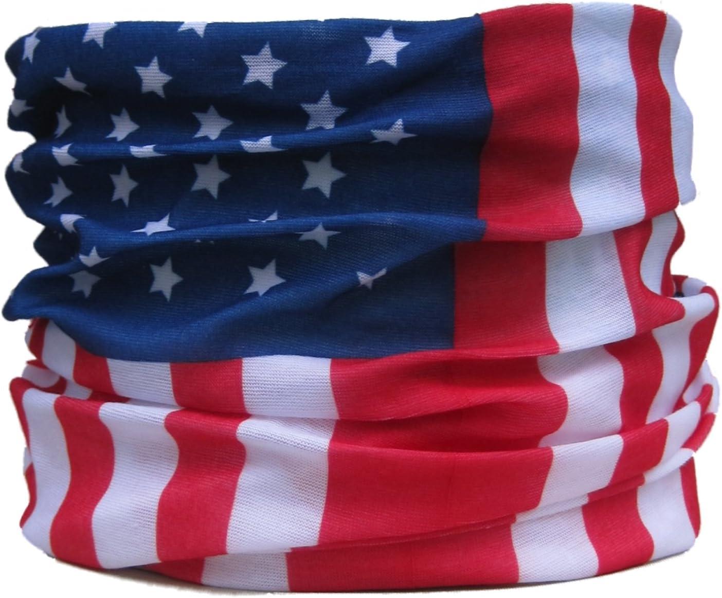 Braga para el Cuello, pañuelo de Microfibra multifunción, diseño de Barras y Estrellas de la Bandera USA: Amazon.es: Deportes y aire libre