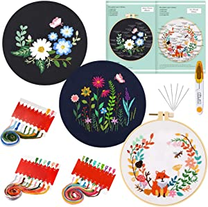 Caydo 3 Sets Embroidery Starter Kit with Pattern and Instructions, Cross Stitch Kit Include 3 Embroidery Clothes with Floral Pattern, 1 Plastic Embroidery Hoop, Color Threads and Tools