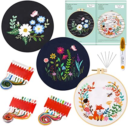 with Threads and Needles Cross Stitch Set 1 Embroidery Hoop 3 Pack Embroidery Starter Kit with Pattern and English Instructions with 3 Embroidery Cloths with Plant Pattern
