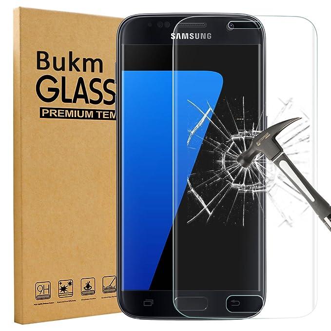 Galaxy S7 Protecteur D'écran, Bukm Protecteur d'écran en verre trempé Full Couverture Galaxy S7 Protector Film [9H Dureté] [Crystal Clear] [Anti-rayures] en Verre Trempé pour Samsung Galaxy