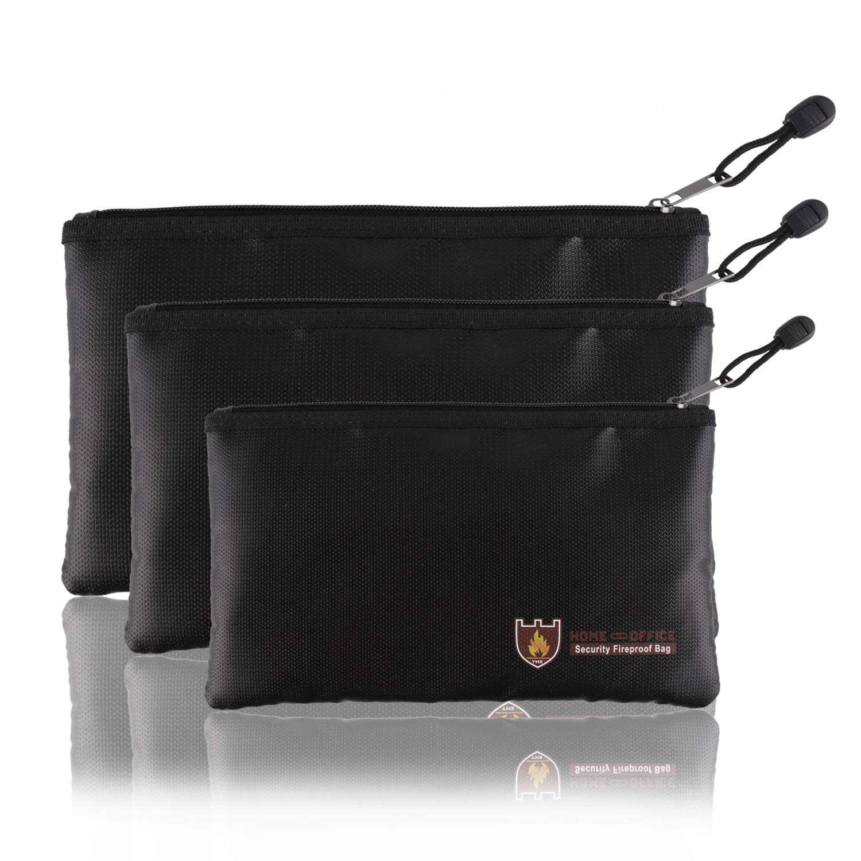 Fellibay Fireproof Document Bags Envelope Holder A4 Size Waterproof Fireproof Bag with Fireproof Zipper for Valuables, Money, Jewelry, Passport, Files Storaging 1Pcs (Large)