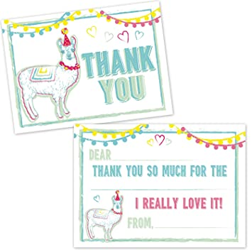 Amazon Com Llama Birthday Party Thank You Cards For Kids 20 Count