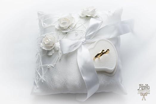Wedding Ring Pillow Cushion Engagement Holder White Roses