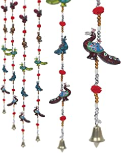 Garden Of Arts Indian Traditional Hanging 5 Layer Door Hanging, Wall Hanging, Decorative Hanging of 28 Inches Set of 2