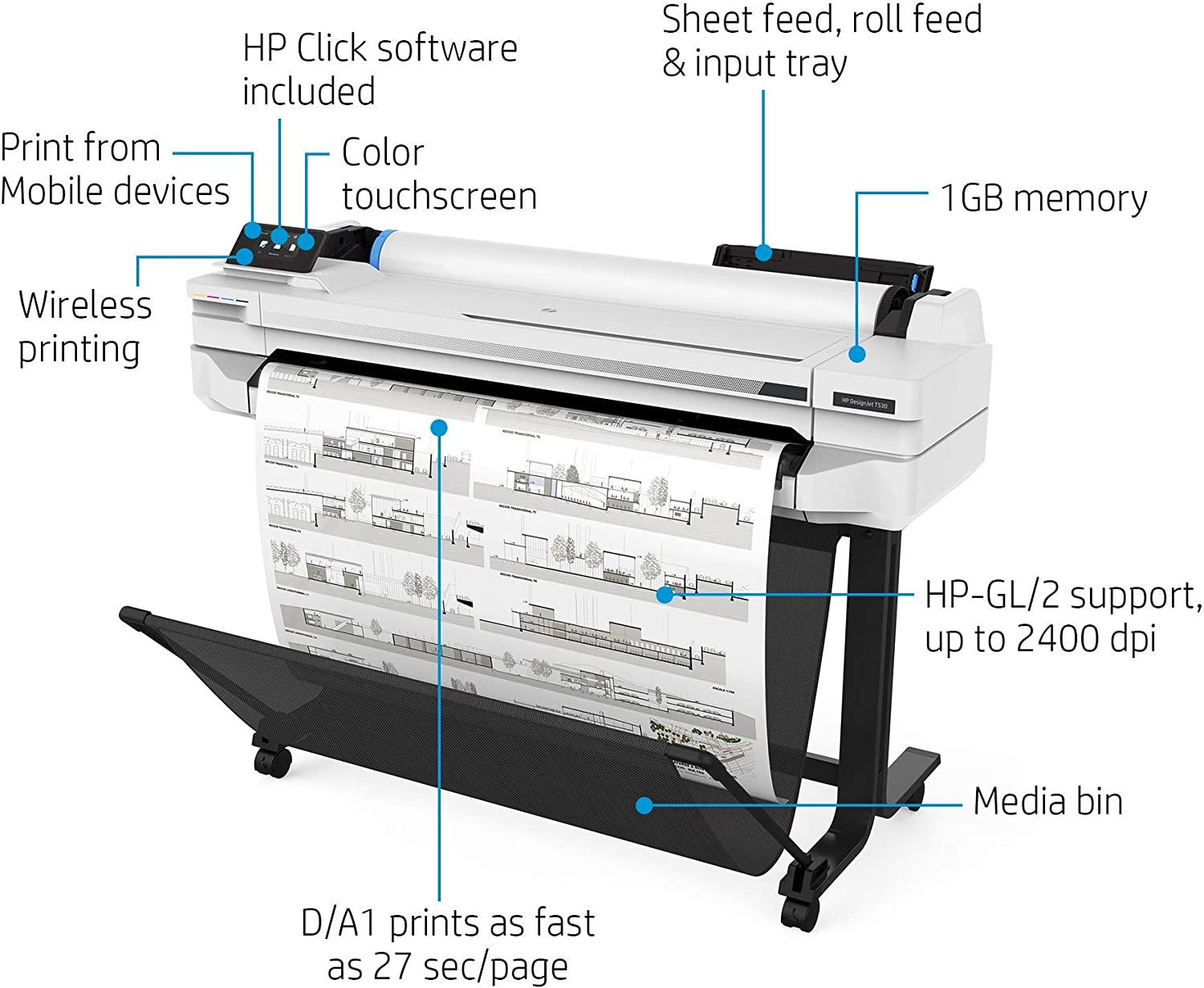 "HP DesignJet T530 Large Format Wireless Plotter Printer - 36"", with Mobile Printing (5ZY62A)"