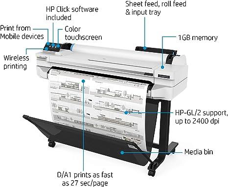 HP Designjet T530 - Impresora de Gran Formato (2400 x 1200 dpi ...