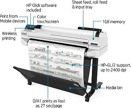 HP Designjet T530 - Impresora de Gran Formato (2400 x 1200 dpi, Inyección de Tinta térmica, HP-GL/2,HP-RTL, 2400 x 1200 dpi, Negro, Cian, Magenta, Amarillo, 0.3 mm): Amazon.es: Informática