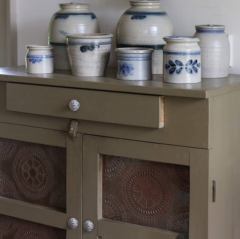 Decorative Cabinet Handles Grey/White Dresser Knobs with Leaf ...