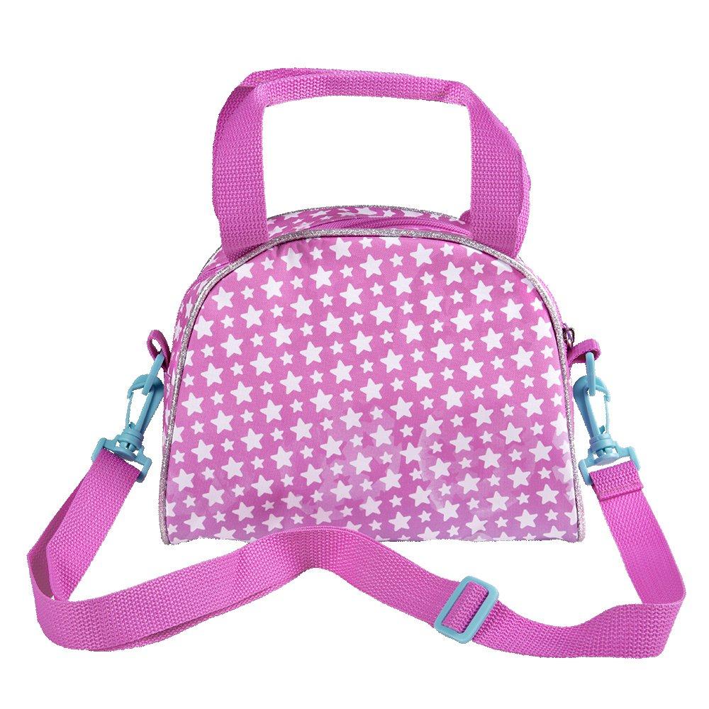 Pratica borsetta con stelle PERLETTI Borsa Tracolla Bambina con stampa di Disney Soy Luna 17x22x11 cm Tracollina regolabile rosa e azzurra da viaggio e tempo libero