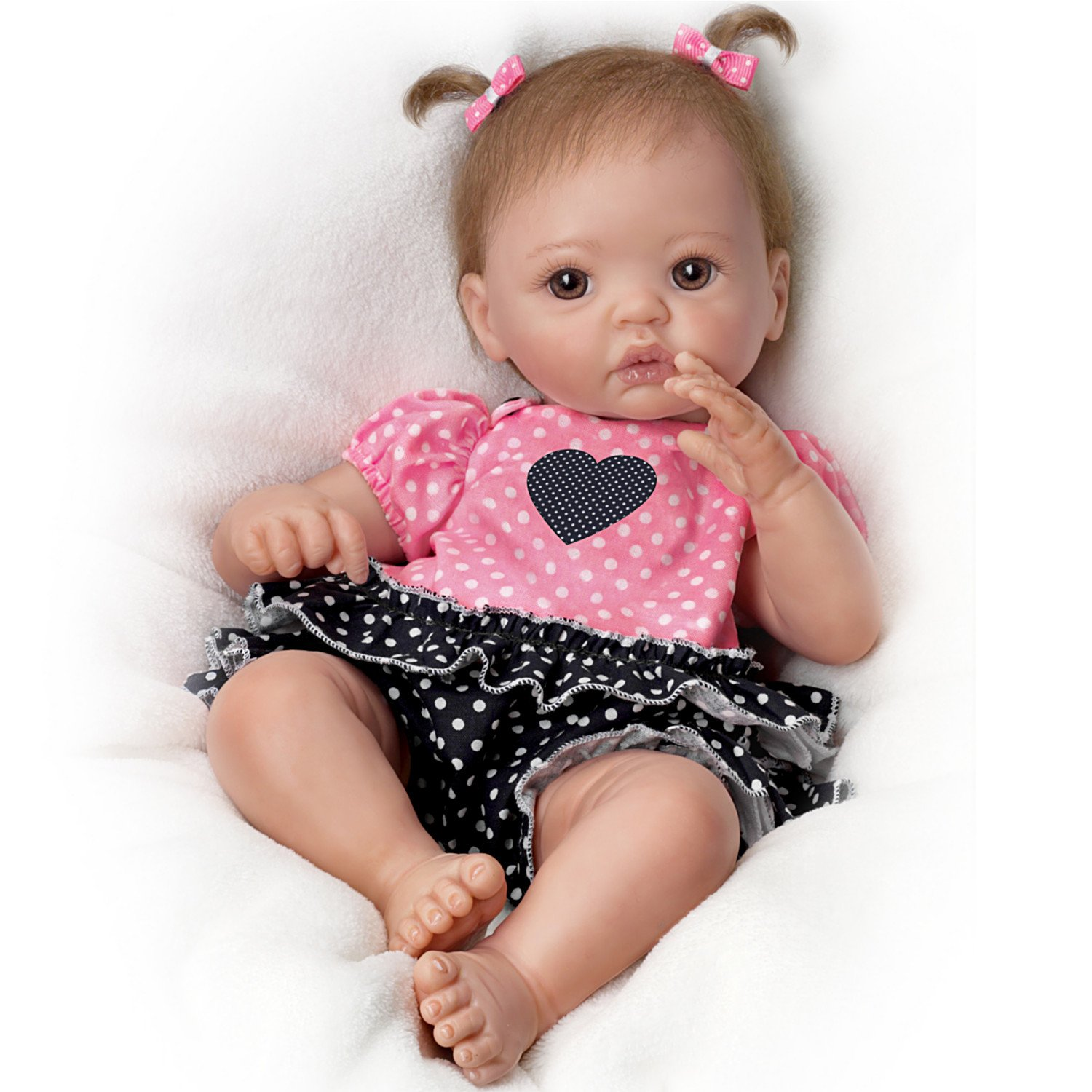 Ashton Drake - Lifelike Baby Doll 'My Little Sweetheart' by Cheryl Hill - Includes Ruffled Romper The Ashton-Drake Galleries 03-02086-001