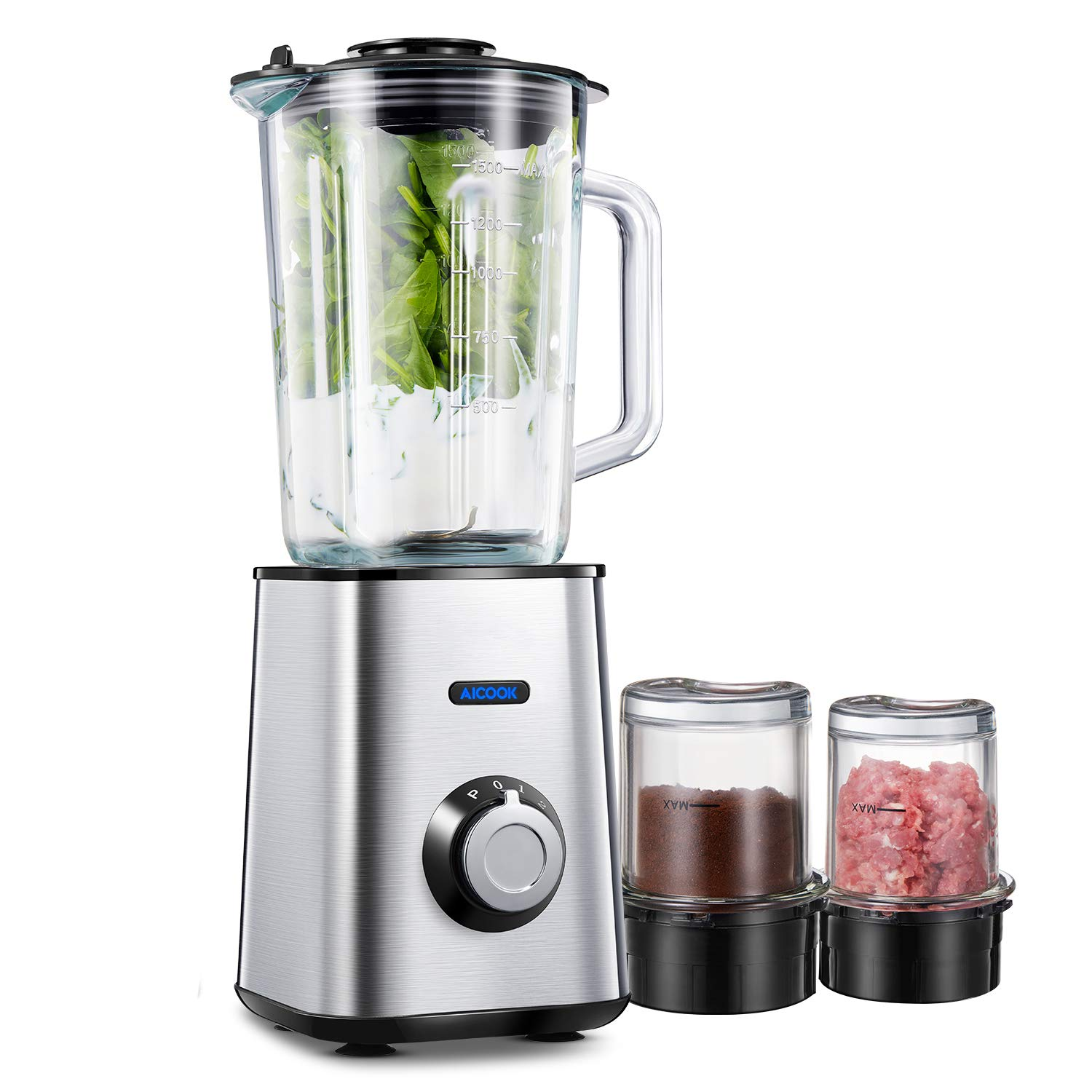 Blender, Aicook Smoothie Blender, Multifunctional Blender with 51.5oz Glass Jar, 8.5oz Grinding Cup, 8.5oz Meat Mincing Cup and 3 Titanium Coated Blades, Silver