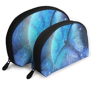 01c95e9ca5de Amazon.com   Makeup Bag Universe Star Moon Butterfly Portable Shell Pouch  For Girls Halloween Gift Pack - 2   Beauty