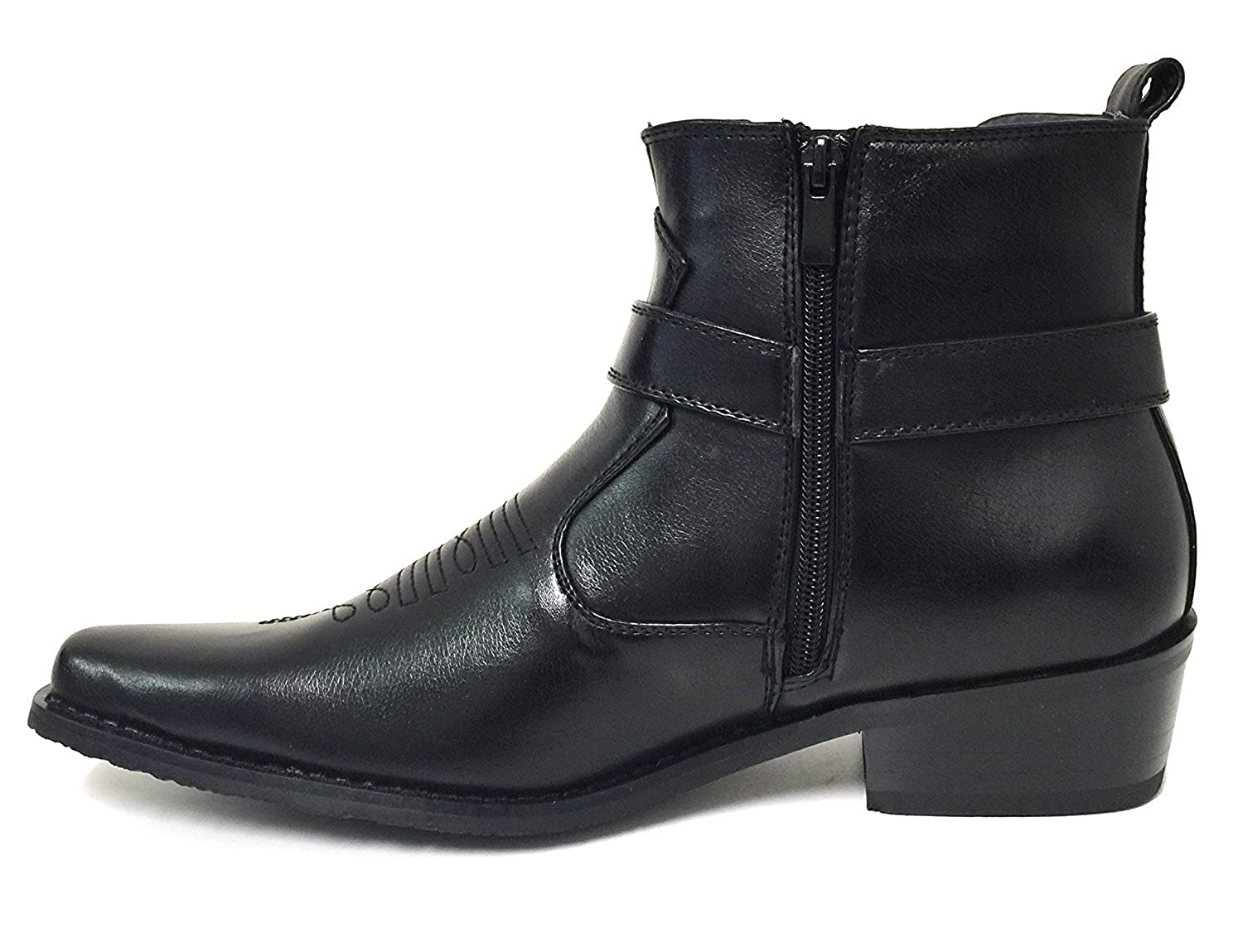 Alberto Fellini W1TCJ Men/'s Cowboy Boots Western Ankle Harness Leather Lining Side Zipper Shoes