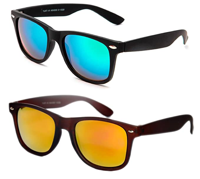 5e15d7af0e27 TheWhoop Combo UV Protected New Trendy Stylish Mirror Green And Orange  Goggle Wayfarer Unisex Sunglasses For Men