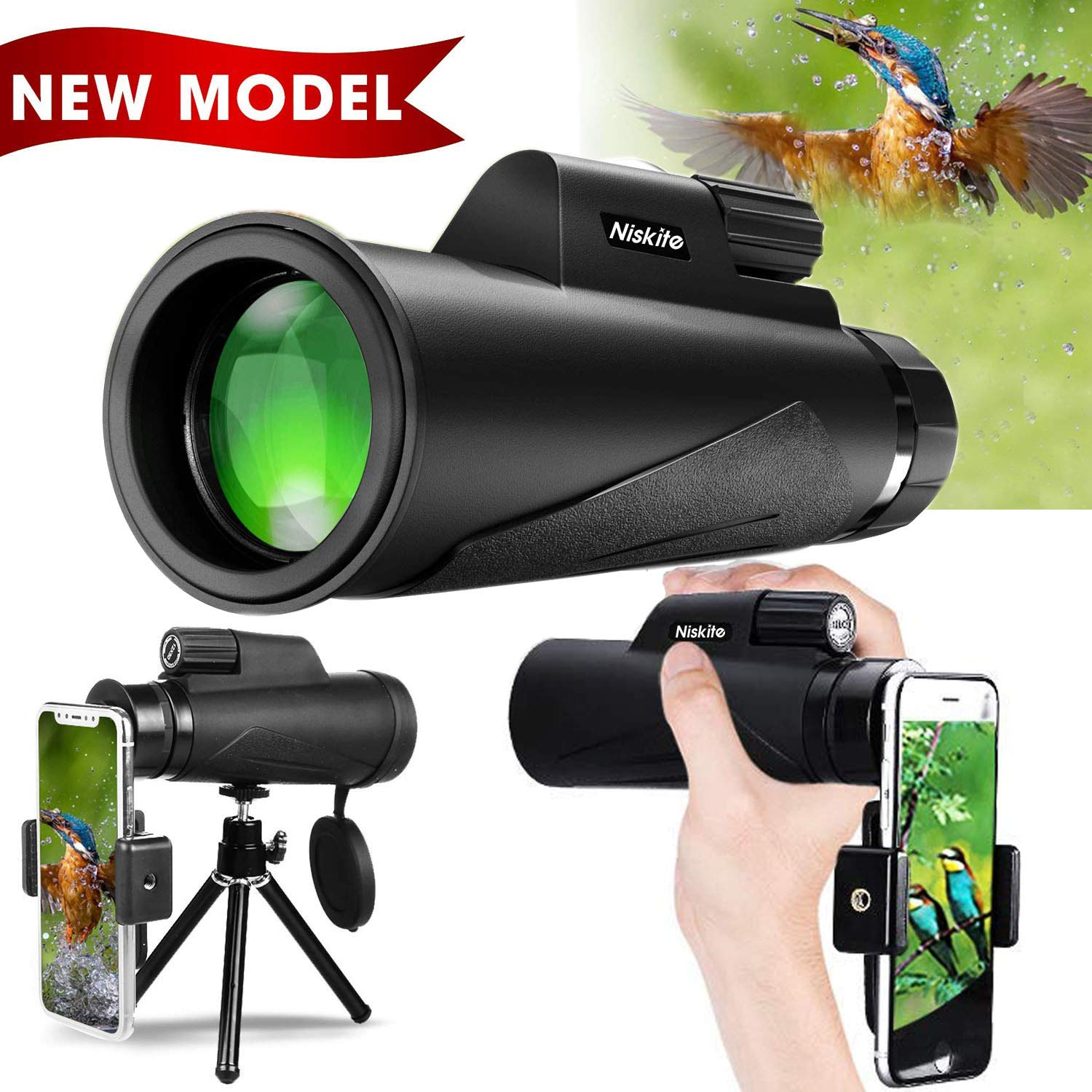Monocular Telescope for Adult, Newest 2019 High Power 12×50 Compact Monoculars Scope for Smartphone,Waterproof Shockproof HD BAK4 Prism FMC Monoscope for Bird Watching, Hunting, Camping, Travel