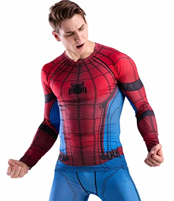 1b12a77096d3dc Red Plume Men Cool Dry Compression Long Sleeve Base Layer Shirts, Spider  Tee (M