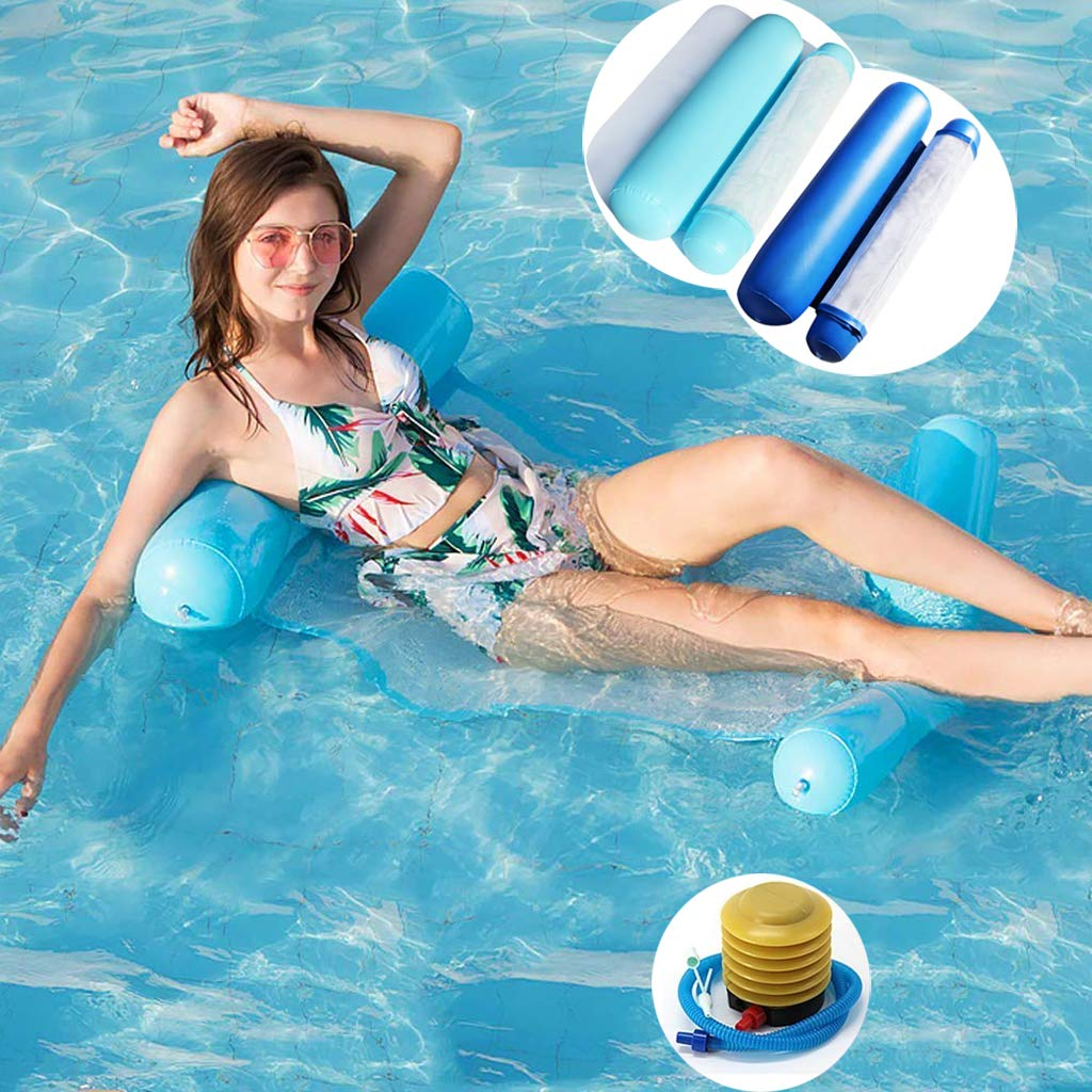 2 Pack Inflatable Pool Floats Water Hammock for Adults Kids 4-in-1 Pool