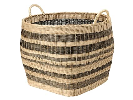 Bon KOUBOO 1060042 Large Striped Wicker Storage Basket, 26.5u0026quot; X 26.5u0026quot;  ...