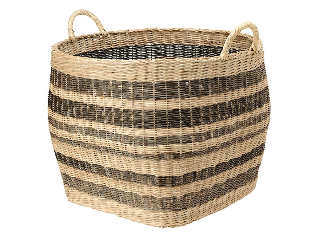 "KOUBOO 1060042 Large Striped Wicker Storage Basket, 26.5"" x 26.5"" x 27.5"", Beige/Black - Diameter 26.5 Inch x 23.5 Inch high (27.5 Inch with handles), Footprint 19 Inch square Hand woven from Wicker Perfect to store bed covers, pillows, toys, fire logs, gift wrap paper rolls or as a cachepot for large indoor plants - living-room-decor, living-room, baskets-storage - 71rUksvsmuL -"