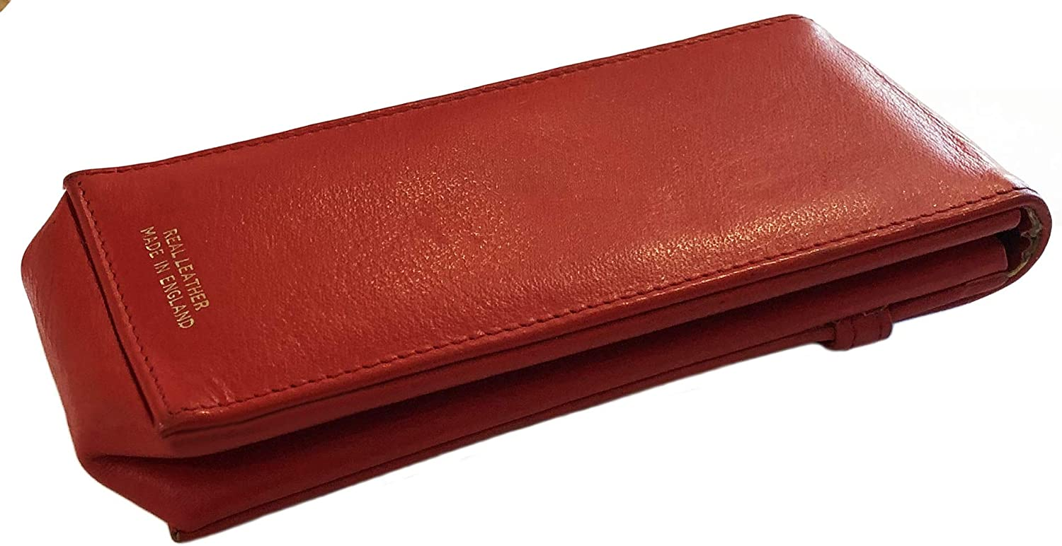 Sunglasses Glasses Case Pouch Real Leather Red Slight seconds