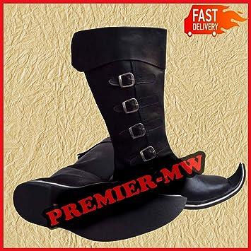 e5c77f279eb NASIR ALI Bottes médiéval Viking Pirate de la Renaissance à Chaussures pour  Homme Cuir Marron 6