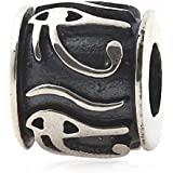 Hoobeads Eye of Horus Egyptian Symbol of Protection, Royal Power and Good Health 925 Sterling Silver Bead Fits Europen Style Bracelets