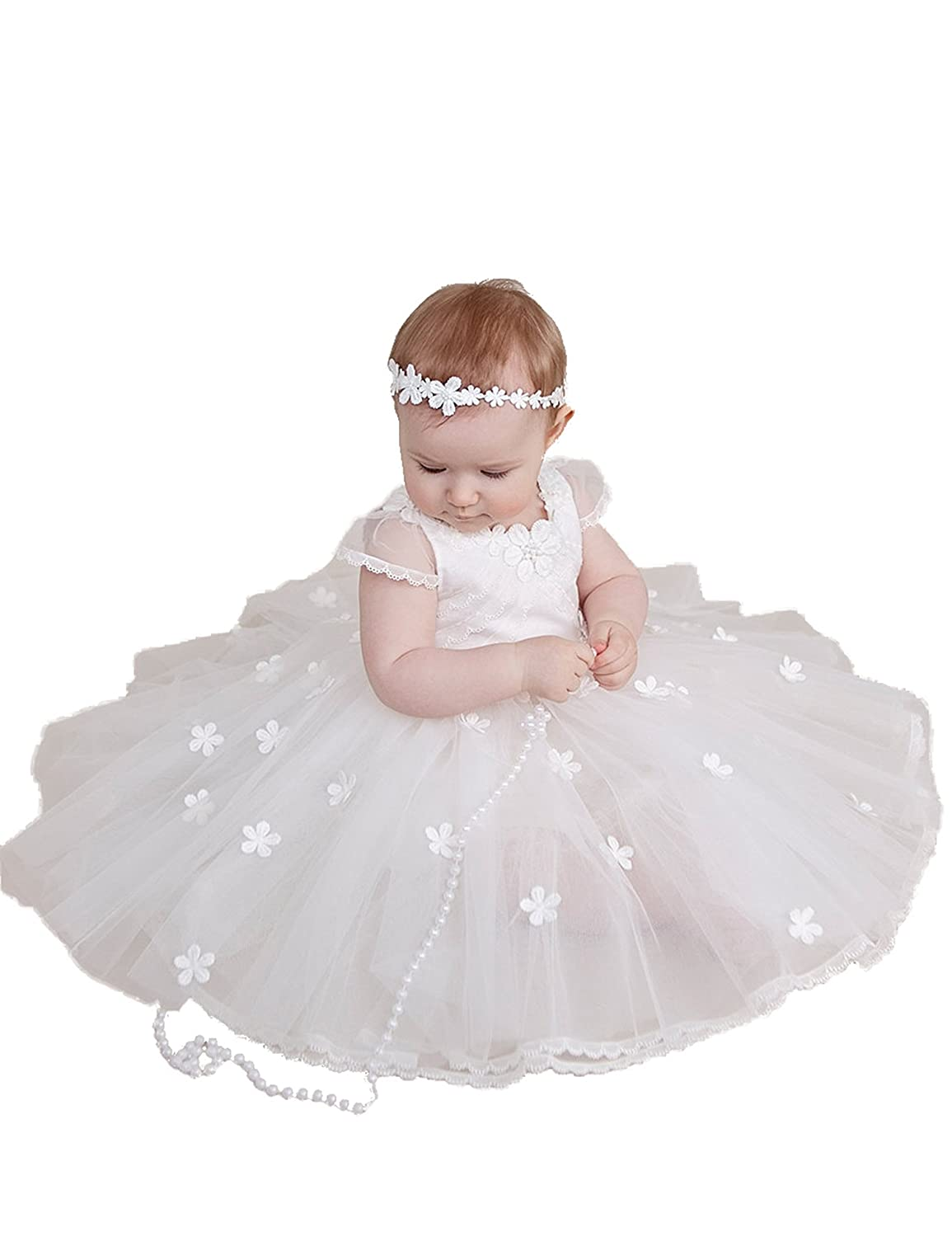BuyBro White/Ivory Tulle Flowers Blessing Christening Dresses Gowns